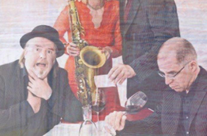 """Samstag, 09.03.2019 ab 20.00 Uhr, Wein & Crime """"Der Detektiv und das Saxophon"""" mit Jo Jung, Ruth Sabadino und Boogaloo"""